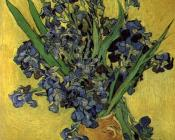 Vincent Van Gogh : Vase with Violet Irises against a Yellow Background